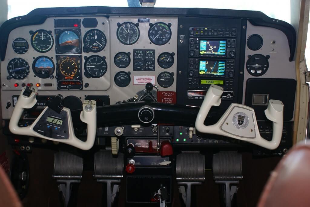 Beechcraft Bonanza instrument panel.